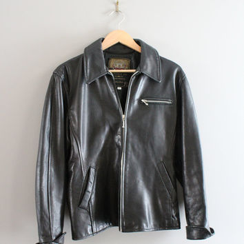 80s Black Leather Jacket Genuine Leather Bomber 90s 80s Leather Parka Unisex Vintage  Size M - L