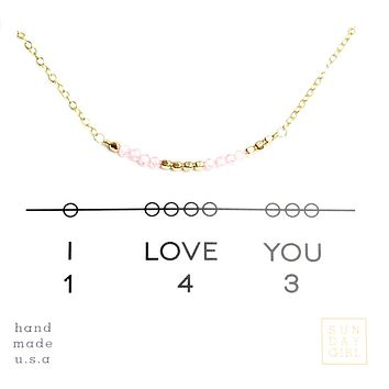 """I Love You"" Gemstone Secret Code Necklace - Rose Quartz"