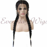 24 Black Synthetic Braided Lace Front Wig-edw1028