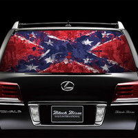 Perfik57 Full Color Print Perforated Film Truck SUV Back Window Sticker US Confederate flag