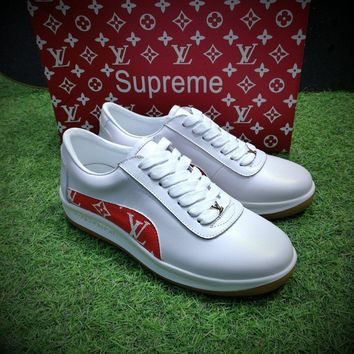 Sale LV x Supreme x McQueen Men Women White / Red Fashion Sneaker Casual Shoes -901