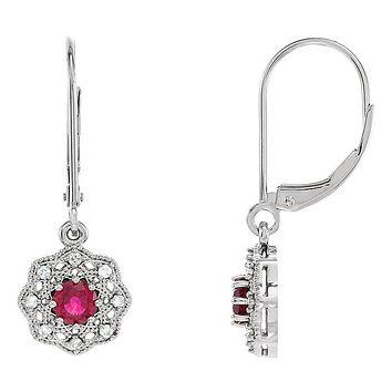 10.5 x 26mm 14k White Gold Ruby & 1/8 CTW (G-H, I1) Diamond Earrings