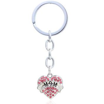 Beautiful Sparkly Mom Heart Keyring with Rhinestones