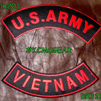 U.S. Army Vietnam Embroidered Patches Red & Black Military Patch Set for Jackets
