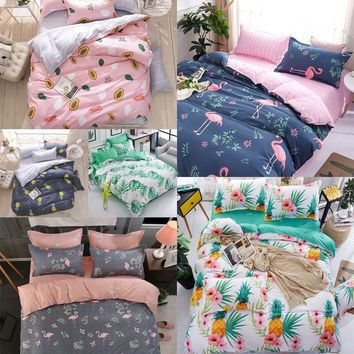 Flamingo Leaves Cotton Bedding Set Duvet Cover Bed Flat Sheets and Pillow Covers Queen Size King Size Bedding Set
