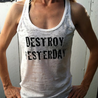 Destroy Yesterday White Burnout Tank Top