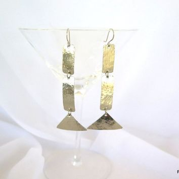 Long Thin Silver Earrings, Artisan Hammered Thin Dangle Earrings, Gift for her