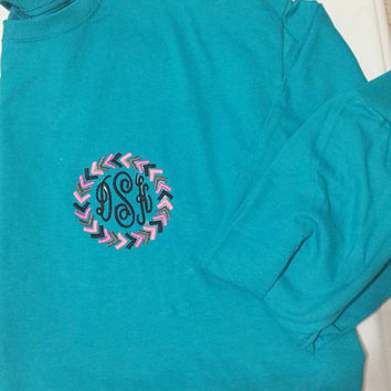 Monogrammed Long Sleeve Tshirt with Arrow Frame. Adult and youth sizes available. You choose the colors and font. Initials or greek letter
