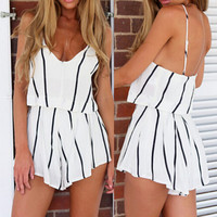 Sexy Backless Short Rompers Womens Jumpsuit Casual Chiffon Overalls For Women Playsuit White Women Striped Jumpsuit SM6