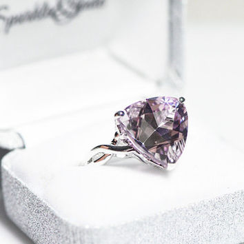 Sterling Silver Rose De France Quartz Amethyst Ring