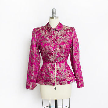 Vintage 1940s PEPLUM Jacket Magenta Silk Asian Fitted Novelty Blazer 50s - Small
