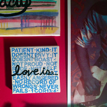 Love Is... | Acrylic Canvas Painting | Bible Verse Quote Wall Art | 1 Corinthians 13:4