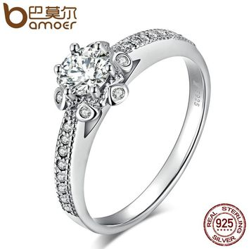 BAMOER Authentic 925 Sterling Silver Sparking Blooming Flower Finger Rings for Women Wedding Engagement Jewelry Gift SCR083