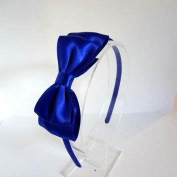Royal Blue Satin Bow Headband - Layered Bow - Plastic Headband - Girls Hair Accessory - Teen Headband - Adult Headband