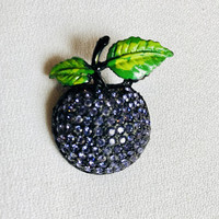 Beautiful Black Japanned Metal Purple Rhinestone Plum Grape Fruit Vintage Pin