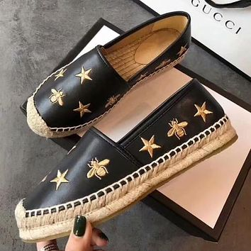 GUCCI Stars Bee Embroidery Women Espadrilles Flats Shoes