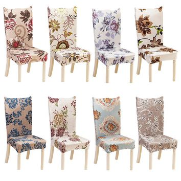 Modern Minimalist Dining Room Stretch Chair Cover Kitchen Anti-dirty Spandex Floral Printed Slipcover Stool with Back Seat Case