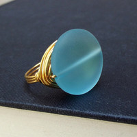 Sky Blue Sea Glass Ring:  24K Gold Wire Wrapped Large Stone Statement Beach Jewelry, Size 7