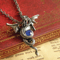 vintage silver eternity dragon necklace with blue crystal jewelry