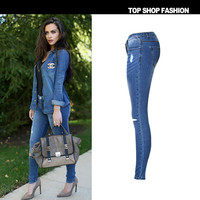 Suvance Fashion Low Waist Stretchable Skinny Holes Ripped Spring Cotton Pencil Jeans Quality Materia
