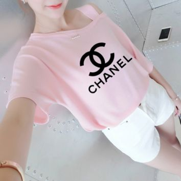 """Chanel"" Women Casual Fashion Letter Print Bare Shoulder Strap Short Sleeve T-shirt Top Tee"