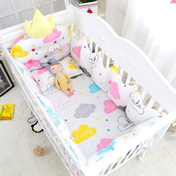 10 pcs Cozy Clouds Baby Appease Bedding Set Cotton Crib Bedclothes Include Crown Bumpers Bed Sheet Quilt Pillow Hanging Bag