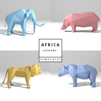 Set of 4 Printable DIY templates (PDF). African Animals  paper models: Lion, Hippo; Mammoth, Rhino. 3D animal paper sculpture. Origami.