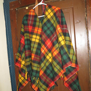 60s Plaid pure  wool  Blanket Poncho, Fringe Cape, Folk Hippie Festival Poncho Jacket, Tartan Cloak, Drug Rug, Boho Poncho Cape, Vintage