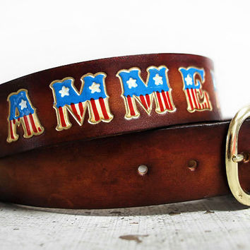 American Flag Personalized Name Leather Belt