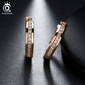 ORSA JEWELS New Trendy Champagne Gold-Color&Silver Color Cubic Zirconia Simple Item Female Earrings Hoop Jewelry for Women OME34