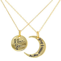 His and Hers I Love You to the Moon and Back Pendant Necklaces for Couples 19""