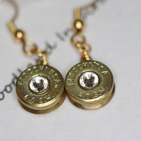 Dangle Bullet earrings, 40 caliber brass bullet casing dangling earrings with clear Swarovski crystals, redneck charm jewelry, bullet jewel