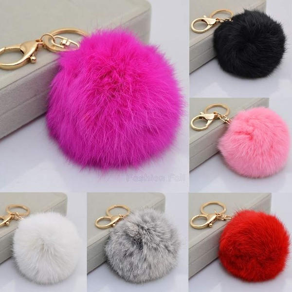 New Cute Keychain Faux Fur Ball Shape Accessory for Car Key Ring    1931939332 de2144adf7fb