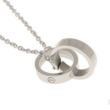 LMFYV2 Cartier Woman Fashion LOVE Plated Necklace For Best Gift