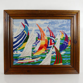 Large Bright Framed Vintage Sailboat Crewel Embroidery, Lake House Yarn Wall Hanging,