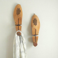 Wooden Shoe Stretchers Vintage Pair of Wood Shoe Keepers / Entry Hall Wall Hooks / Modern Rustic Decor Industrial