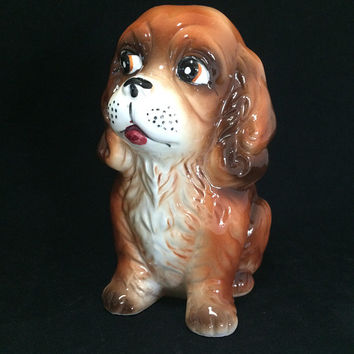 Cocker Spaniel Puppy Dog Figurine, 7 Inches,  Hand Painted,  Bone China, Vintage Kitsch Home Decor 618m