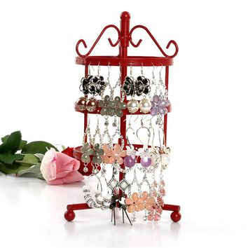 Mordoa Free Shipping New 72 Holes Earring Jewelry Display Storage Stand Metal Revolving Necklace Jewelry Display Rack Holder