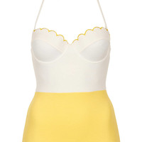 Cream Texture Scallop Swimsuit - New In This Week - New In - Topshop USA