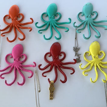 Octopus cast iron hook. jewelry hook, key hook, choose your color