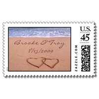 Love on the beach - Customized Postage Stamps from Zazzle.com