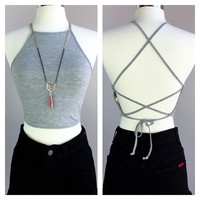 A Solid Halter Crop in Grey