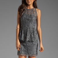 MILLY Floral Scallop Lace Liza Peplum Dress in Grey from REVOLVEclothing.com
