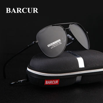 2017 Hot BARCUR Fashion Men's Aviation Sun Glasses Vintage Men Brand Designer Mirror Polarized Protection Retro Sunglasses