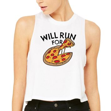 Will Run For Pizza Tank Top Racer Crop