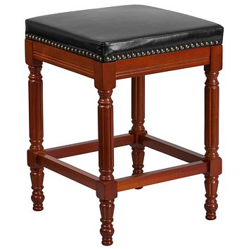 26'' High Backless Wood Counter Height Stool with Leather Seat