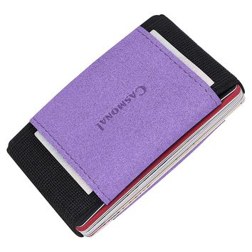 Casmonal Minimalist Slim Wallet With Elastic Front Pocket Card Holders And Cash