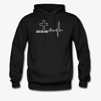 Jesus Lives Here! | Christian | Faith | Religious Hoodie | Christian Life Apparel