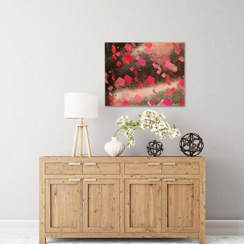 """Rosa Picnic """"Abs-8"""" Black Pink Abstract Contemporary Painting Watercolor Birchwood Wall Art"""