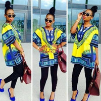 Women Men Summer Short Sleeved Floral Printed Loose Blouse National Wind Pullover Shirt Tops Dashiki One Size (Size: One Size, Color: Floral print) = 5618499905